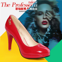 Wholesale women pumps new PU patent leather shoes woman Sweet Fashion White Black Red ladies high thin heels US size S