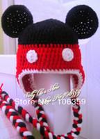 Unisex Summer Crochet Hats Wholesale-New baby crochet hat handmade knitted boys girls minnie mouse hat kids winter cap children beanies Free Shipping