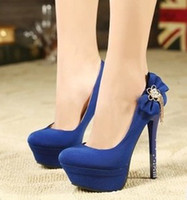 Wholesale Black blue wedding shoes Rhinestone inch heels red bottom high heels platform women pumps spring shoes woman