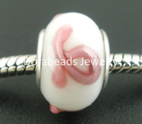 Wholesale Pink Ribbon Awareness Glass Lampwork Beads Fit European Charm W Silver Plated Core x9mm B03248