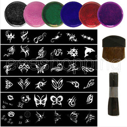 Wholesale S085 Mixed Design Stencils for Body Painting Glitter Temporay Tattoo Kit DIY Party Boy Girl stencils glitters brushes