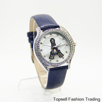 Wholesale Quality New Fashion Colors Paris Eiffel Tower Ladies Leather Women Rhinestone Watches Women Dress Wristwatch