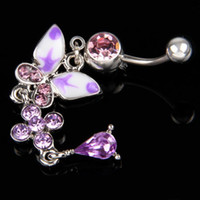 Wholesale Rhinestone quot Purple Love quot Butterfly Ball Button Barbell Bar Belly Navel Ring Body Piercing Body Jewelry