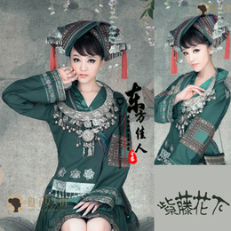 Wholesale By the new studio photo tray woman Square Hmong ethnic minority costumes clothing Wisteria