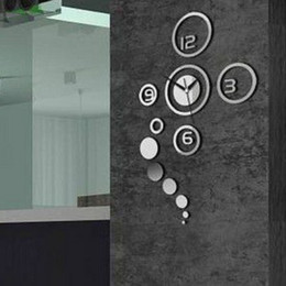 Wholesale MN1 Acrylic creative home sales three dimensional wall stickers clock watch Living room bedroom bathroom glass hot sale