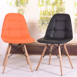 Wholesale Creative new chair Eames chair Eames chair pu leather dinette wooden foot IKEA creative personality Fair passenger seat restaurant furniture