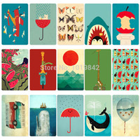 Wholesale New Japan and Korea Retro Kawaii Giraffe Whales Owl Cute Little Animals Bus Meal Card Stickers Classic Toys Kids Gift