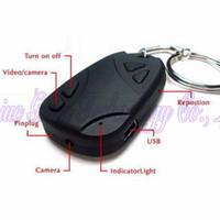 Wholesale Mini Hidden Car Key Digital Cameras P HD Keychain Chain DV DVR DC Mini Camcorders Video Recorders Support TF Card