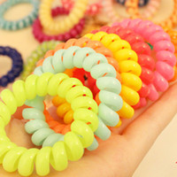 Wholesale Fashion Cute Candy Color Hair Jewelry Headbands Telephone Line Hair Rope For Women