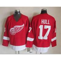 Ice Hockey Men Short Red Wings #17 Hull Throwback Hockey Jerseys Mens Red Hockey Uniform Highest Quality Cheap Football Uniform New Style Sportswears for Sale