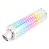 exhaust pipe for muffler - Colorful Cheak Pattern Metal Round Tip Exhaust Pipe Muffler for Motorcycle