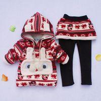 Unisex Winter Long 2014 Winter Christmas Girl Clothing Set Thicken Add Wool Warm Hoodies + Skirt Pants 2pcs Baby Suit Korean 90-130 2-6Age Fawn Kids Set WD293