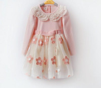 TuTu Spring / Autumn A-Line Spring Autumn Girl Dress Korean Embroidery Flower Pearl Children Lace Dresses Long Sleeve High Gauze 100-140 3-8Age Kids Clothing Wd272