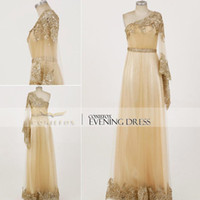Cheap Reference Images Gold Prom Dresses Best One-Shoulder Tulle Long Prom Gown