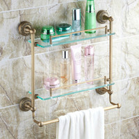 Wholesale Double Layer Brass Tower Bars Bathroom Accessories Tower Hanger Storage Holders Racks CM Length