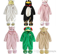 Wholesale Autumn Winter Baby Romper One Piece Clothes Animals Modelling Toddler Baby Rompers With Shoes Colour Polar Fleece Infant Jumpsuits WD75