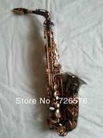 Wholesale QUALITY New Black Nickel Alto Saxophone Gold Keys Eb High F with FREE Case