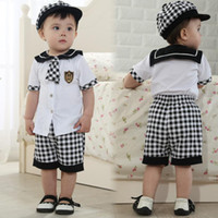 Cheap bow tie and suspender set retail new arrive 100% cotton shirt summer baby clothes sales brand sport suit