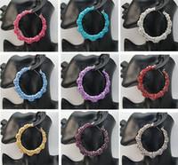 Hoop & Huggie bamboo earrings - pairs X Basketball Wives Earring Big Hoop Circle Rhinestone Crystal Dangle Stud Bamboo