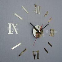 Mode décor de mur d'art Avis-Bricolage Décoration maison quartz Acrylique miroir horloge murale, chiffres romains Design Art Art Décoration mur autocollants murale