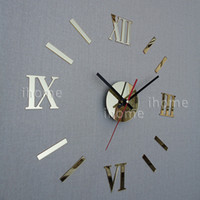 Wholesale DIY Home Decoration quartz Acrylic mirror wall clock Roman numerals design Fashion Art Home Decor stickers wall Watch