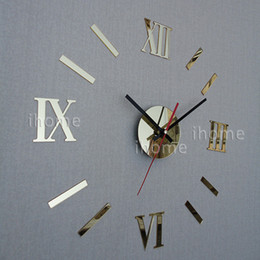 Wholesale DIY Home Decoration quartz Acrylic mirror wall clock Roman numerals design Fashion Art Home Decor stickers wall Watch