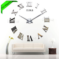 Wholesale Living Room DIY large quartz Acrylic mirror wall clock D Roman numerals design Fashion Art Home Decor stickers wall Watch