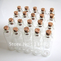 Glass Shanghai China (Mainland) KaiTing 16x50mm Wholesale Lots 20 Tiny Small Empty Clear Cork Glass Bottles Vials 5.0ml For Wedding Holiday Decoration Christmas Gifts