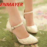 Women Stiletto Heel PU ENMAYER New 2014 Women Pumps Fashion High Heels Pointed Toe Patry Prom Wedding Shoes Brand Glitter Platform Pumps