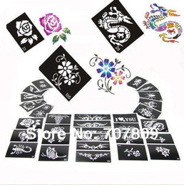 Wholesale 50 Mixed Design Sheets Stencil for Body Painting Glitter Temporay Tattoo Kit