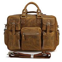 "Soft Bags Genuine Leather Women Rare Crazy Horse Leather Men's Brown Business Briefcase Laptop Bag Dispatch Shoulder Huge 16.5"" FREE SHIP #7028B"