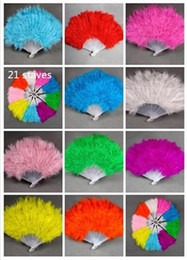 Wholesale 1PC Colors Staves Plain Elegant Folding Marabou Feather Fan Plastic Hand Fan Party Supplies AE01158