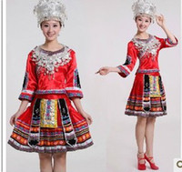 hmong - Yunnan Nationalities loading minority Clothing Hmong dance dress stage clothes performance clothing costumes red