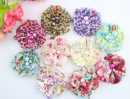 Wholesale New Floral Printed Pearl Rhinestone Chiffon Flower Head