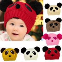 Unisex Summer Crochet Hats Wholesale-Cute Panda Pattern Baby Love Dual Ball Toddler Girls Boys Wool Knitting Hat Sweater Cap Free Shipping