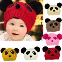 Unisex Summer Crochet Hats Wholesale-Cute Panda Pattern Baby Love Dual Ball Toddler Girls Boys Wool Knitting Hat Sweater Cap Free Shipping