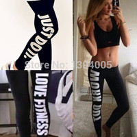 Wholesale 2014 New Women Harajuku Work Out Letter Gun Print Black Casual Sexy Sportswear Fitness Bottom Leggings