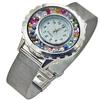 Wholesale 2014 Hot Sell floating charm locket Watch Stainless steel watch High quality Free gift pearl and birthday