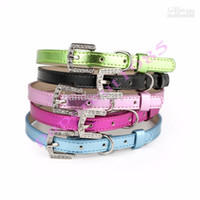 Wholesale Leather Dog Collar with Rhinestone Letters Personalized Name Pet Collars Sizes Colors small dog collars Pet Supplies
