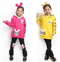 Cheap New 2014 Autumn And Winter Sweater Dress Hooded Rabbit Children manteau Clothes Cotton Cartoon frozen jumper