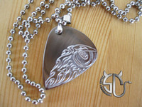 Wholesale Eye of the Eagle stainless steel Handmade guitar pick pendant necklace