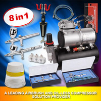 Metal air compressor parts - Oil free air compressor with airbrush and airhose airbrush holder for body paint and tattoo AS186