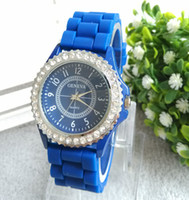 watch silicon gel - 2014 hot sale Candy Colors Geneva Crystal Watch Jelly Gel Silicon Girl Women s WristWatch