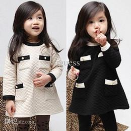Wholesale Vogue Fall and Winter Clothes Korean Air Cotton Winter Baby Girls Clothes Childrens Long sleeved Dress Son Kids N18829