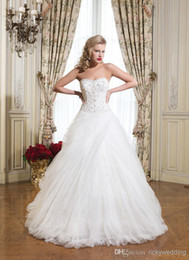 Wholesale 2015 Wedding Dress New Arrival Elegant Bride A Line Dress Antique Net Bridal Gown Strapless Sweetheart Sequins Beaded Wedding Dresses JA005
