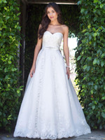 Wholesale Hot sale Strapless Wedding Dresses Sleeveless Beads Sweetheart Neck Appliques Bridal Gowns Lace Up Vogue Sweep Train Beach Church AD370