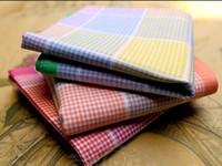 Wholesale 6pcs Cotton Handkerchiefs Men Women cm Pocket Square Plaid Hankerchief Cute Hankies