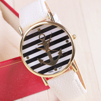 anchor watch - Colors New Arrival Fashion Watch Leather Anchor Watch For Women Dress Watch Quartz Watches piece BW SB
