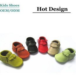 Wholesale Multy Color in Stock Baby Moccasins Soft Leather Baby First Walkers Tassels Kids sneakers M Mix Color Order
