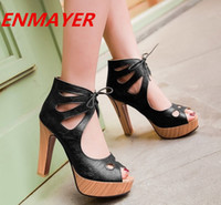 Wholesale ENMAYER fashion color summer shoes Party platform heels shoes women pump Korean princess large size